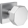 Emtek Octagon Modern Door Knob in Satin Nickel with Square rosette