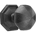 Emtek Octagon Bronze Door Knob in Flat Black with Style #15 rosette