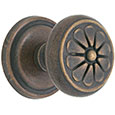 Emtek Petal Bronze Door Knob in Medium Bronze with Style #12 rosette