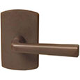 Emtek Cimarron Bronze Door Handle in Deep Burgundy with Style #4 rosette