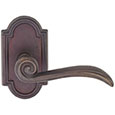 Emtek Medici Bronze Door Handle in Deep Burgundy with Style #11 rosette