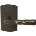 Emtek Montrose Bronze Door Handle in Medium Bronze with Style #4 rosette