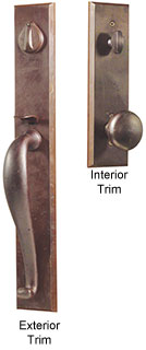 Emtek Rectangular Full-Length Sandcast Bronze Entry Door Handle