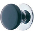 Emtek Ebony Porcelain Cabinet Knob in Polished Chrome