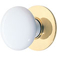 Emtek Ice White Porcelain Cabinet Knob in Polished Brass