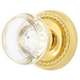 Emtek Georgetown Crystal Door Knob in Polished Brass with Rope rosette
