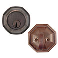 Emtek Octagon Bronze Deadbolt Door Lock in Medium Bronze and Deep Burgundy