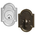 Emtek Style #11 Bronze Deadbolt Door Lock in Silver Patina and Medium Bronze