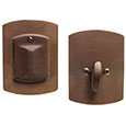 Emtek Style #4 Bronze Deadbolt Door Lock in Deep Burgundy