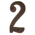 "Emtek 4-inch Brass ""2"" Address Number in Oil Rubbed Bronze"