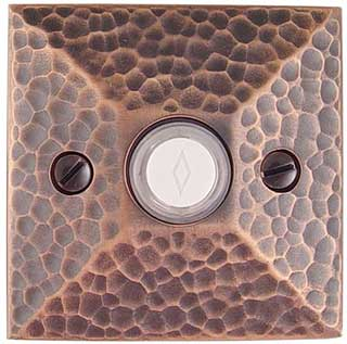 Emtek Hammered Style Brass Door Bell in Oil Rubbed Bronze