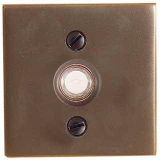 Emtek Square Style Brass Door Bell in Oil Rubbed Bronze