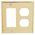 Emtek Colonial 1-Rocker/1-Duplex Brass Switch Plate in PVD