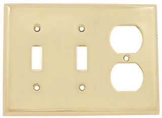Emtek Colonial 2-Toggle/1-Duplex Brass Switchplate in PVD