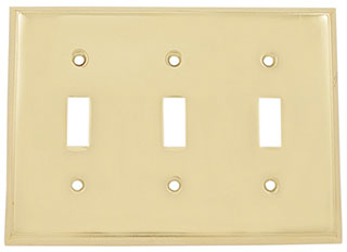 Emtek Colonial 3-Toggle Brass Switchplate in PVD