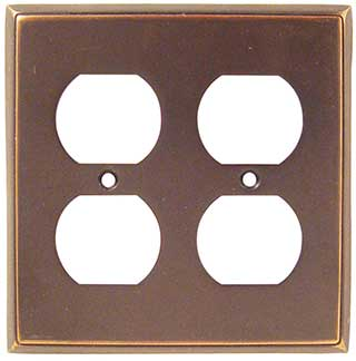 Emtek Colonial 2-Duplex Brass Outlet Plate in Oil Rubbed Bronze