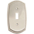 Emtek Rope 1-Toggle Brass Switch Plate in Satin Nickel