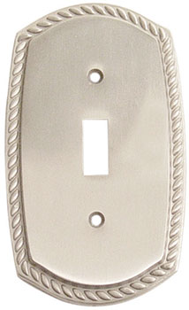 Emtek Rope 1-Toggle Brass Switchplate in Satin Nickel