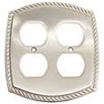 Emtek Rope 2-Duplex Brass Outlet Cover in Satin Nickel
