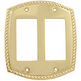 Emtek Rope 2-Rocker Brass Switch Plate in PVD