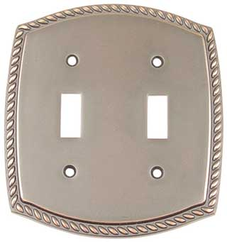 Emtek Rope 2-Toggle Brass Switchplate in Oil Rubbed Bronze