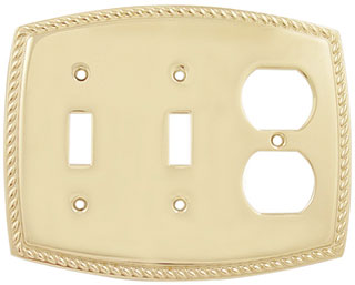 Emtek Rope 2-Toggle/1-Duplex Brass Switchplate in PVD