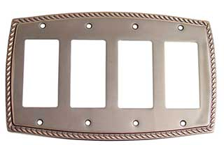 Emtek Rope 4-Rocker Brass Switchplate in Oil Rubbed Bronze