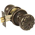 Emtek Petal Bronze Keyed Door Knob Lock Set in Medium Bronze with Style #12 rosette