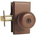 Emtek Winchester Bronze Keyed Door Knob Lock Set in Deep Burgundy with Style #1 rosette