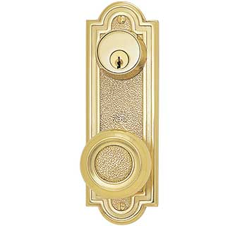 "Emtek 7-1/2"" Belmont Style Brass Door Handle-Plate"