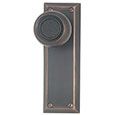 "Emtek Quincy 7-1/8"" Brass Door Handle Plate in Oil Rubbed Bronze with Belmont knob"
