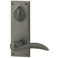 "Emtek Keyed Rectangular 7"" Bronze Door Handle Plate in Flat Black with Durango lever"