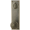 "Emtek Keyed Rectangular 8-7/8"" Bronze Door Handle Plate in Medium Bronze with Butte knob"