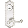 "Emtek Keyed Rope 7-1/2"" Brass Door Handle Plate in Satin Nickel with Rope lever"