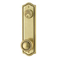 "Emtek Keyed Rope 9-5/8"" Brass Door Handle Plate in French Antique with Rope knob"