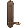 "Emtek Keyed Style-#16 10-1/8"" Bronze Door Handle Plate in Deep Burgundy with Art Nouveau lever"