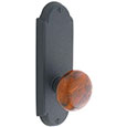 "Emtek Style-#5 7-1/8"" Wrought Steel Door Handle Plate in Flat Black with Brown Swirl knob"