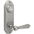 "Emtek Keyed Style-#5 7-1/8"" Wrought Steel Door Handle Plate in Satin Steel with Harrisburg lever"