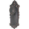 "Emtek Victoria 9"" Brass Door Handle Plate in Oil Rubbed Bronze with Victoria knob"