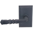 Emtek San Carlos Wrought Steel Door Handle in Flat Black with Style #3 rosette